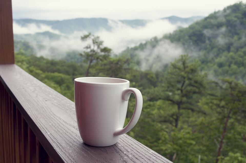 biały kubek na tle gór, mgła i las